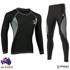 Mens Compression Tights Pants + Shirt Long Armour Base Layer Running Gym Tights