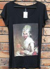 New Ladies Rowan Atkinson Caricature Portrait Black Cotton T Shirt