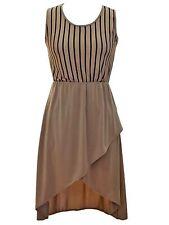 SIMPLE VERTICAL STRIPE HIGH LOW SLEEVELESS DRESS