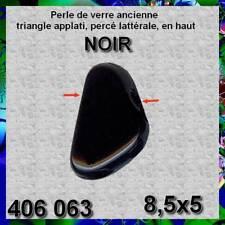 406063**30 perles anciennes verre triangle pendant NOIR