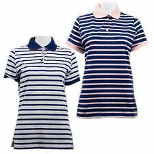 Hazy Blue Womens Zoe Outdoor Ladies Polo Shirt Striped Design