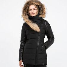 Authentic Black Rudsak Roya Asiatic Raccoon-Fur-Trim Asymmetrical Down Coat*NWT*