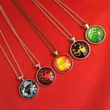 A Game of Thrones - Metal Pendant Necklace - Stark Targaryen Greyjoy Dragon NEW