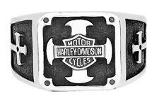 HARLEY DAVIDSON MEN'S .925 STERLING SILVER CROSS INFIDEL CRUSADER RING HDR0318