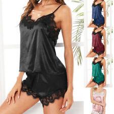 Womens Sleepwear Sleeveless Strap Nightwear Lace Trim Satin Cami Top Pajama Sets