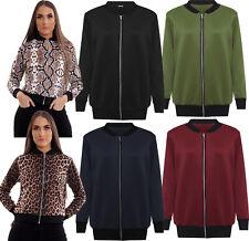 Womens Ladies Bomber Jacket Girls Long Sleeve Zip Up Elasticated Leopard Top