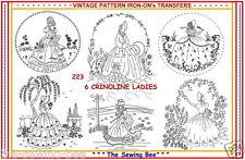 223 ~ 6 New Crinoline Lady - Ladies Embroidery  IRON-ON Transfers Patterns