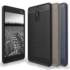 Handy Schutz Hülle für Nokia 6 Carbon Fibre Case Silikon Handy Cover Dünn Weich