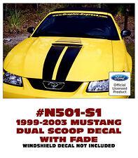N501-S1 1999-03 FORD MUSTANG DUAL SCOOP STRIPE & FADE - FLAT HOOD MODELS - S1