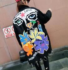 Women Floral Graffiti parkas rivets jacket loose coat outwear parkas overcoat