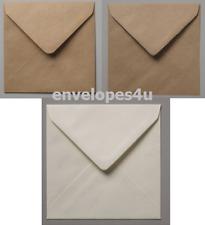 "100x100mm (Under 4x4"") Square Brown Ribbed Kraft, Fleck Kraft & Ivory Envelopes"