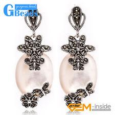 16x32mm Oval Stone Carved Tibetan Silver Dangle Earrings Women Fashion Jewelery