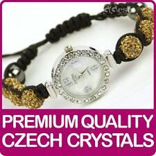 Quality Shamballa WATCH Bracelet Real Czech Crystals Shambala Disco Balls GOLD