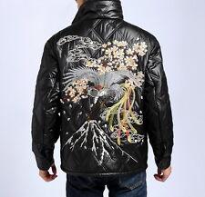 New Mens Coat Japanese Pattern Puffer Jacket Sukajan Embroidery Phoenix Sakura