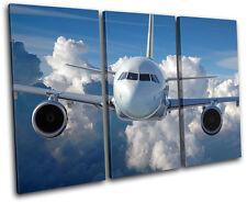 Airplane Jumbo Jet Transportation TREBLE Leinwand Wand Kunst Bild drucken