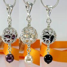 A141 Perlen Anhänger 925 Silber mit Swarovski Elements Creme, Burgundy, Schwarz