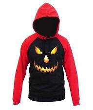 Men's Pumpkin Skull Face Black Red Raglan Hoodie Scary Evil Halloween Sweater