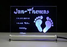 Baby Füsschen LED Leuchtschild mit Textgravur Ihrer Wahl Kinder Geburt Schild