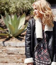 Karen Kane 4L53530 Black Distressed Asymmetrical Collar Faux Fur Jacket - $218