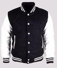 Black White Letterman College University Varsity Bomber Jacket