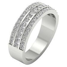Genuine Diamond SI1 H 1.10Ct 3 Row Anniversary Wedding Ring White Gold 6.30 MM