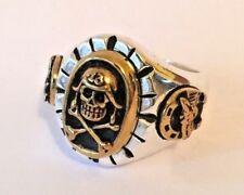 1940s 50s Mexican Biker Novelty Lucky 13 Horse Shoe Skull Ring Tattoo Rockabilly