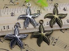 30/60/100pcs retro Jewelry Making starfish alloy charms pendant DIY 26x23mm