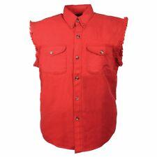 Milwaukee Leather Men's Red Lightweight Sleeveless Denim Shirt - DM4007