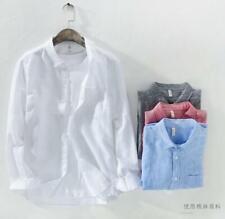 1 Mens lapel Slim Fit 100% Linen Long Sleeve Casual Shirts Tops
