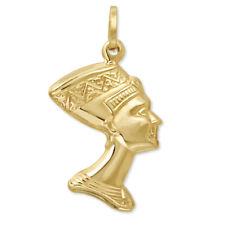 14k Yellow Gold 3D Egyptian Queen Nefertiti Head Charm Pendant