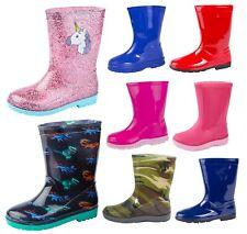 Girls Boys Mid Calf Rain Snow Boots Rain Wellies Wellingtons Wellys Winter Size