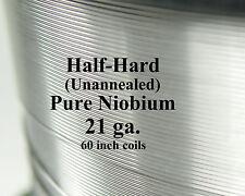 """Pure Niobium Wire, 21 gauge (.029"""" / .7366 mm, 21ga AWG) Unannealed (Half-Hard)"""