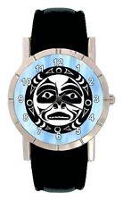 Native American Symbol Mens Womens Genuine Leather Quartz Wrist Watch SA1818