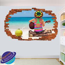 Rasta Fille avec Guitare sur plage salle de bureau Poster Wall Stickers Art Peintures Murales VH8
