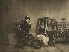 ANTIQUE ELIZABETHAN COSTUME MAN PORTRAIT OF BRIDE SABRE SWORD BIG OLD ART PRINT