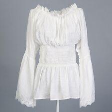 2015 women tops lace trim white blouses shirt retro vintage style peasant blouse