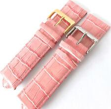 Grano Cocodrilo Rosa 24mm ligeramente acolchada piel de becerro reloj correa. oro o plata
