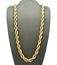 "Men's 80's Hip Hop Rapper Style Hollow 8mm 30"" Rope Chain Necklace RC1943"