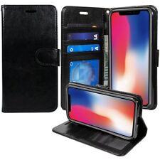 Coque APPLE iphone x + film de protection Étui Housse coque simili cuir noir