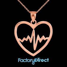 10k 14k Rose Gold Heartbeat Pulse Pendant Necklace