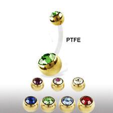 PTFE-Stab Bauchnabelpiercing mit Goldenen Doppel Kristallkugeln kürzbar! Gold