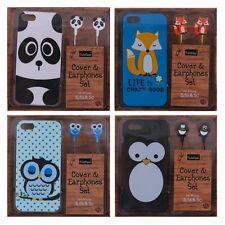 Nuevo Novedad animal lindo teléfono móvil cubierta Y Auriculares Para Iphone 5,5 s,5 c