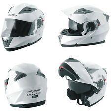 Casco Modulare Apribile Moto Touring Sport Visiera Parasole Bianco