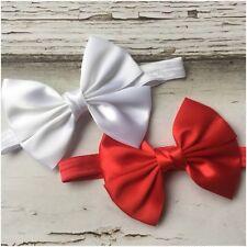 Miss IVY - CHRISTMAS Newborn Baby Girls Satin Bow Stretch Headband Red/Silver