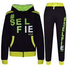 Kids Tracksuit Girls Boys Designer's #Selfie Jogging Suit Hooded Top Bottom 7-13