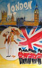Visitez Londres Vintage art déco affiche de voyage tailles A1 A2 A3 A4