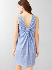 GAP Women Shift Dress Sz 4 6 Twisted Back Blue Floral Print Cotton Sleeveless
