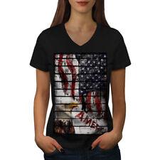 American Eagle Flag USA Women V-Neck T-shirt NEW | Wellcoda
