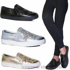 SCARPE Donna Slip on Sneakers Stelle Glitter Laminate Basse Comode Mocassini A32