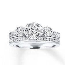 Sterling Silver .925 Women Bridal CZ Set  Engagement Ring Wedding Band Set 5-10